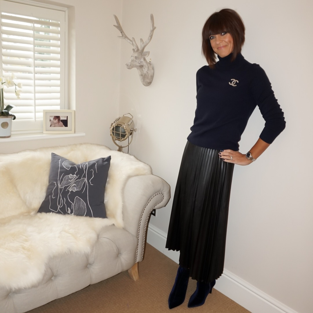 my midlife fashion, marks and spencer pure cashmere polo neck jumper, marks and spencer pleated black midi skirt, marks and spencer stiletto heel side zip ankle boots, velvet ankle boots, chanel vintage brooch