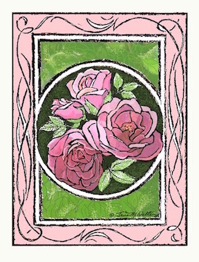 """Time Over Beauty"" pencil and digital drawing of four pink roses ©2019 Tina M.Welter"