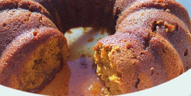 this is a pumpkin cake with bacardi rum poured over the top