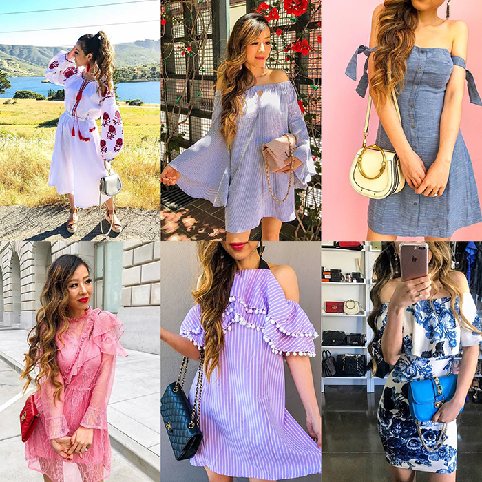 embroidery tassel dress, off shoulder bell sleeves dress, off shoulder shoulder bow dress, chanel classic flap bag, kendra scott earrings,chloe nile bag, topshop pink lace top, gucci bag, pom pom dress, off shoulder floral dress, must have date night dress, san francisco fashion blog, san francisco street style, date night dress ideas