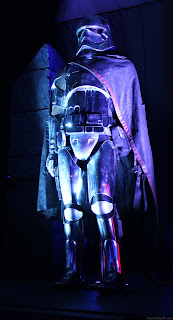 Captain Phasma costume display inside the tent at the Star Wars: The Force Awakens premiere after party.