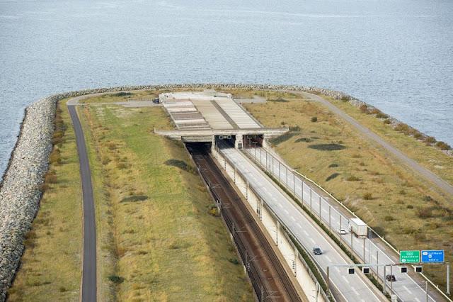 entrada al túnel Øresund desde suecia vista aérea