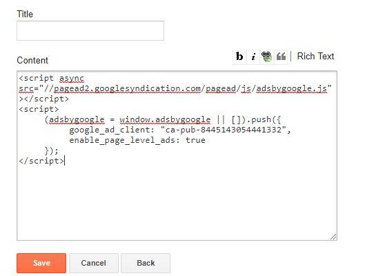 memasang kode google adsense di blog