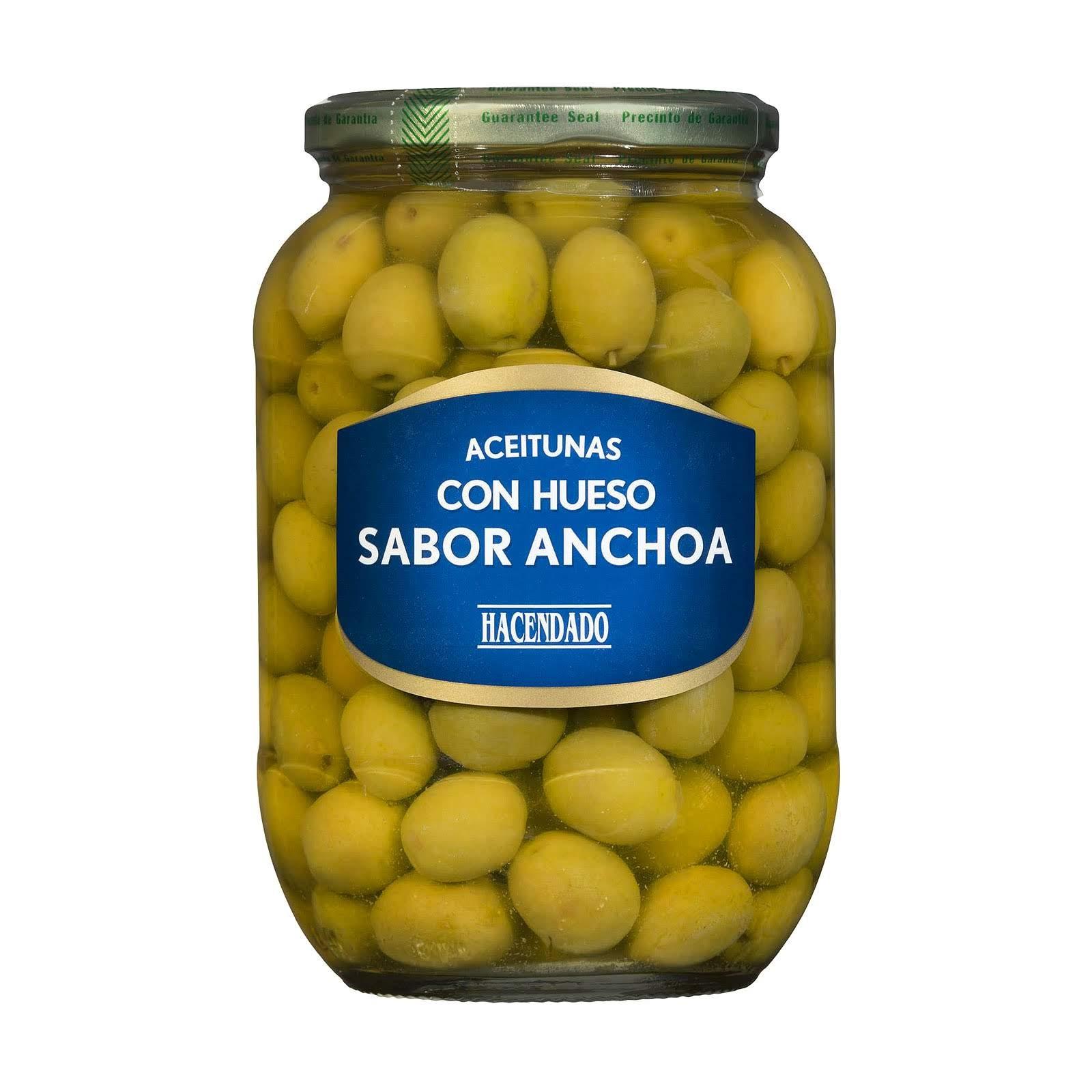 Aceitunas verdes manzanilla con hueso sabor anchoa Hacendado