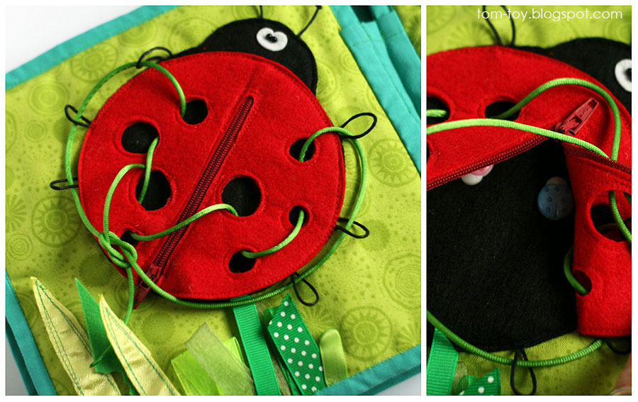 Quiet book for Monroe, handmade, busy book, travel toy, unique gift, lace ladybug, развивающая книжка