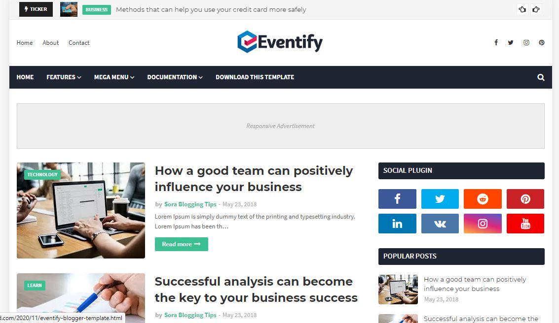 Eventify Premium Version Blogger Template