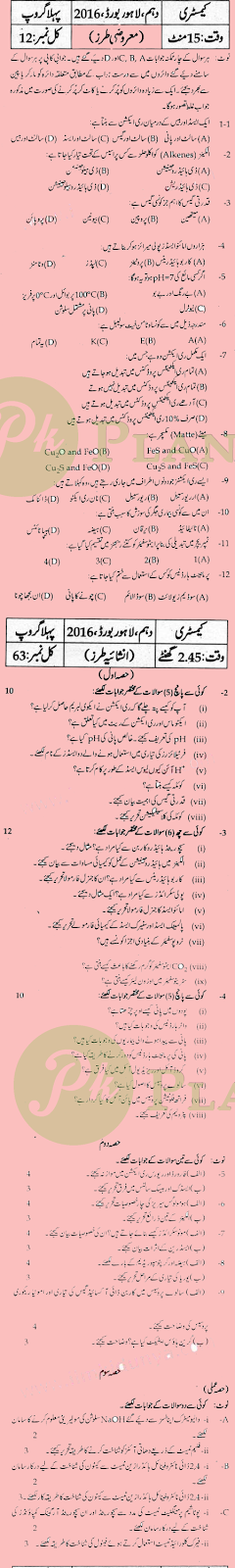 Past Papers of 10th Class Lahore Board Chemistry 2015