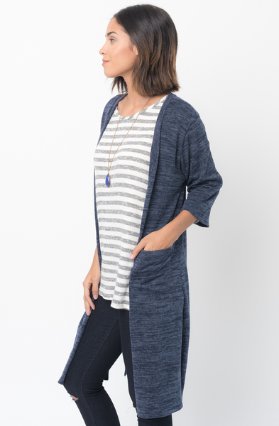 Shop for 3/4 Sleeves navy blue Front Pockets Maxi Cardigan Online - $30 - on caralase.com