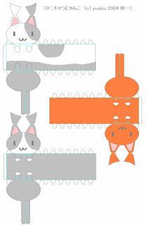 Gatitos papercraft diferentes colores para descargar gratis