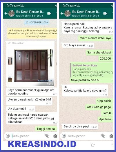 Pintu Garasi Besi pesanan Bu Dewi di Perumhan Bona Indah Lebak Bulus Jakarta
