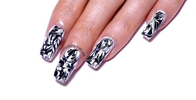 Black and White Drag Marble Nail Art Design Tutorial
