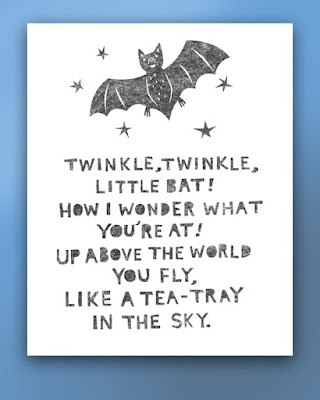 Illustration with text of the poem twinkle twinkle little bat