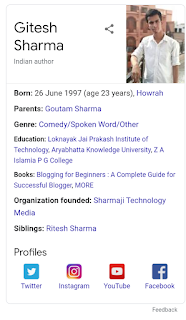 Gitesh Geeky or Gitesh Sharma person knowledge panel Google