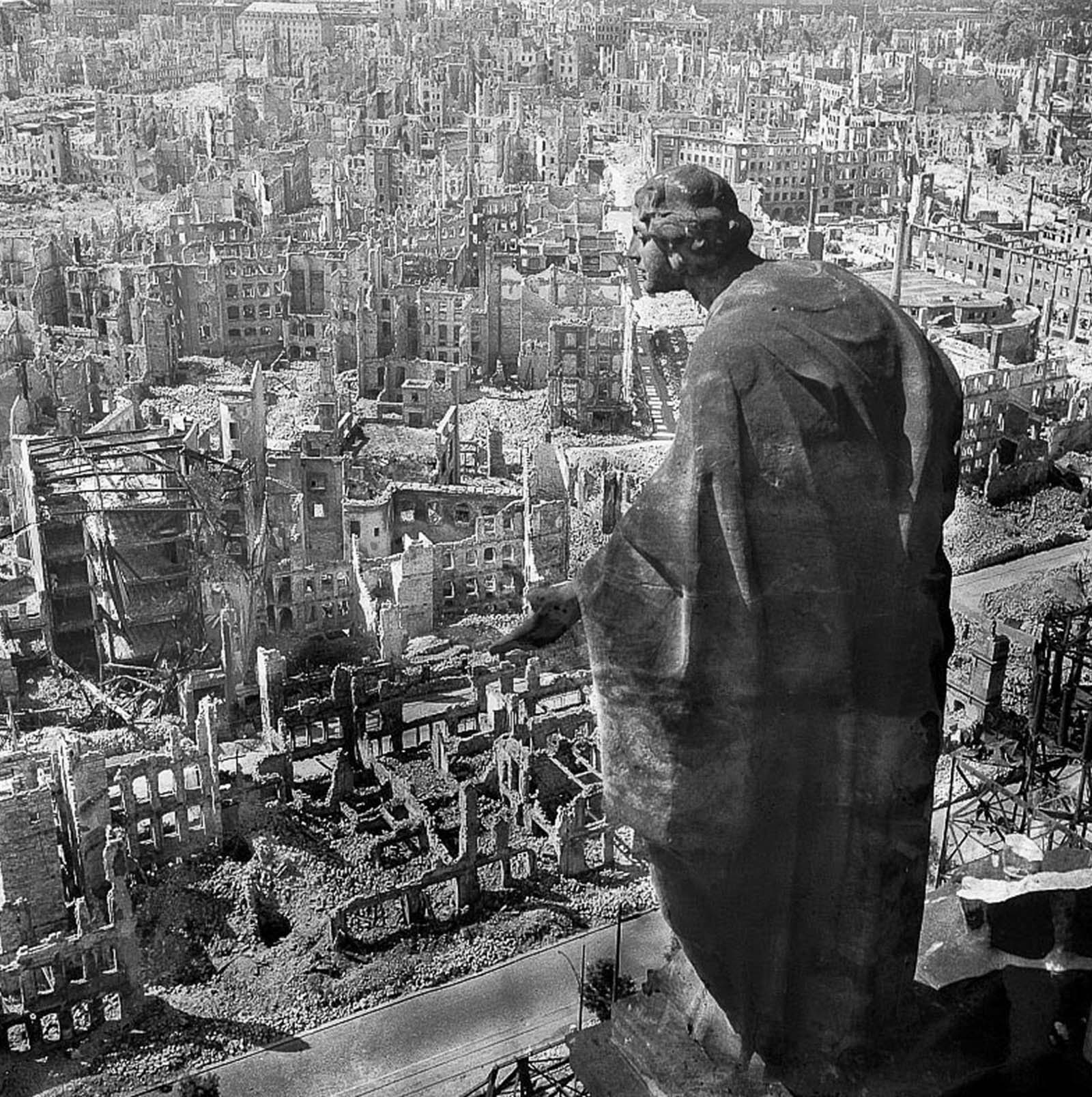The destroyed city as seen from city hall. 1945.