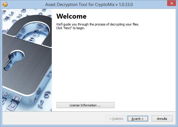 Avax Decryption Tool for CryptoMix, schermata benvenuto
