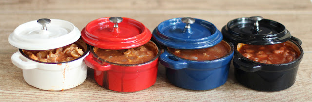 Four servings of chili, all a little different, cooked at the same time. Ideal for families where people have allergies, preferences, or tastes.