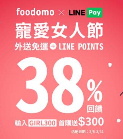 【foodomo】LINE Pay 筆筆享38%回饋