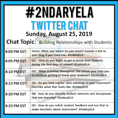 Join secondary English Language Arts teachers Sunday evenings at 8 pm EST on Twitter. This week's chat will be about building relationships with students.