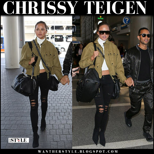 Chrissy Teigen in green canvas jacket and black ripped jeans frame denim celebrity travel style august 24 2017