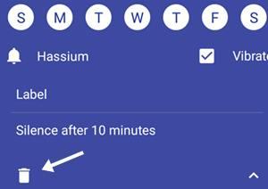 alarm hatane ke liye delete icon par click kare