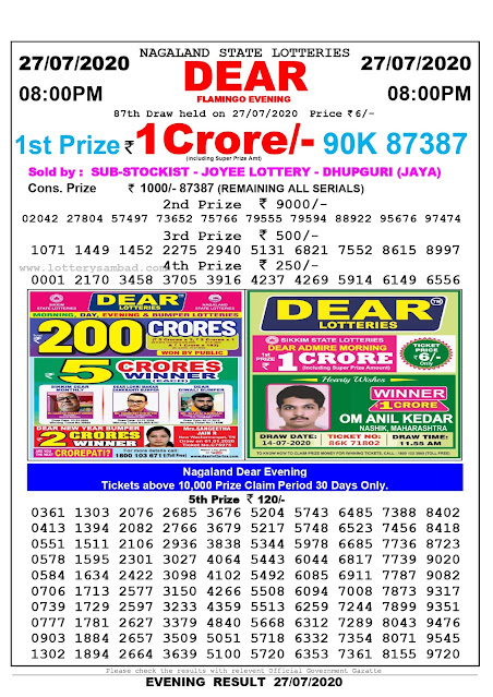 Nagaland State Lottery Sambad 27-07-2020 Today Result 8 PM