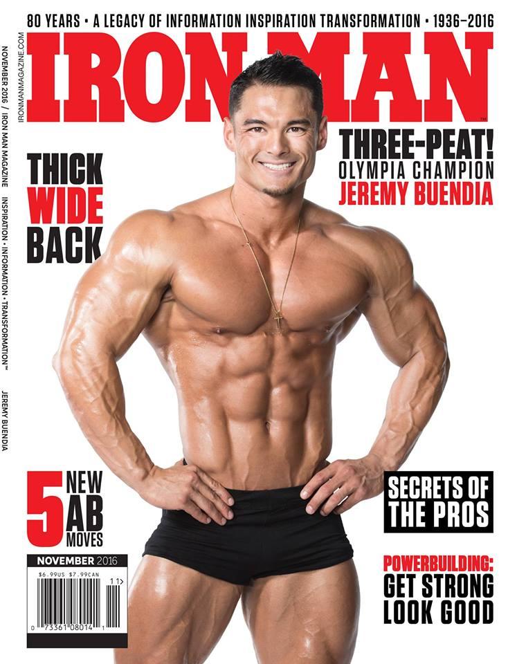 Jeremy Buendia mostra os músculos na capa da edição de novembro da revista Iron Man. Foto: Reprodução