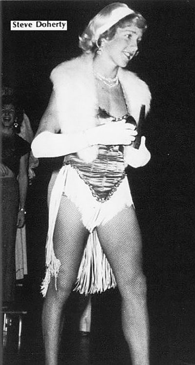 W is for Wow! Wolfson High School's leggy Steve Doherty knocks them dead in his showgirl costume.