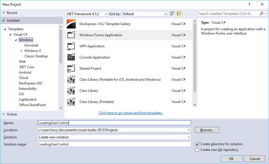 loading user control c#