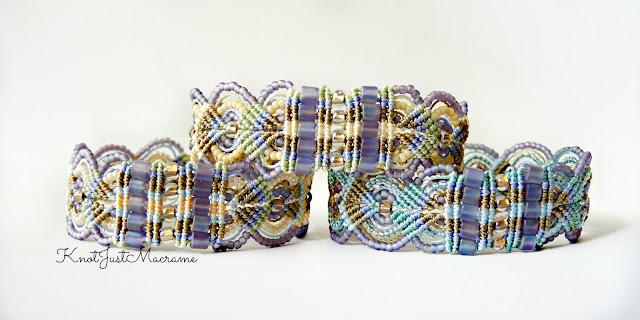 Micro macrame bracelets in spring pastels by Sherri Stokey.