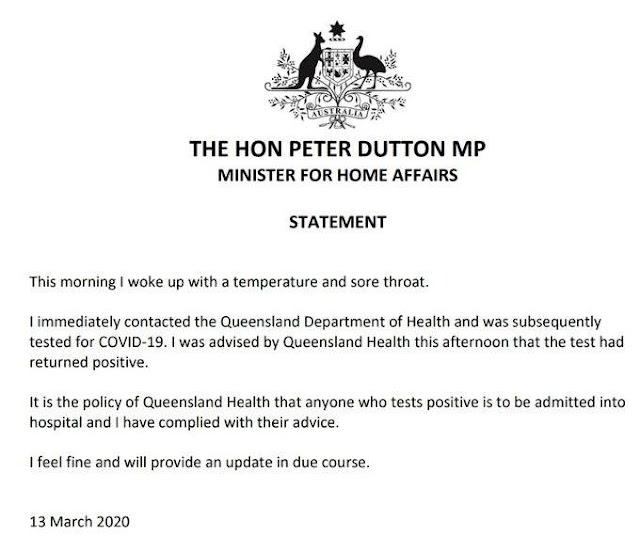 Bộ trưởng Bộ nội vụ Úc dương tính với virus Vũ Hán