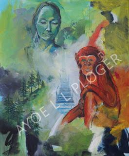 maleri, kunst, ayoe ploger, kunstmaleri, billig kunst, til vægen, farverig, glad, abe, moder jord, red verden