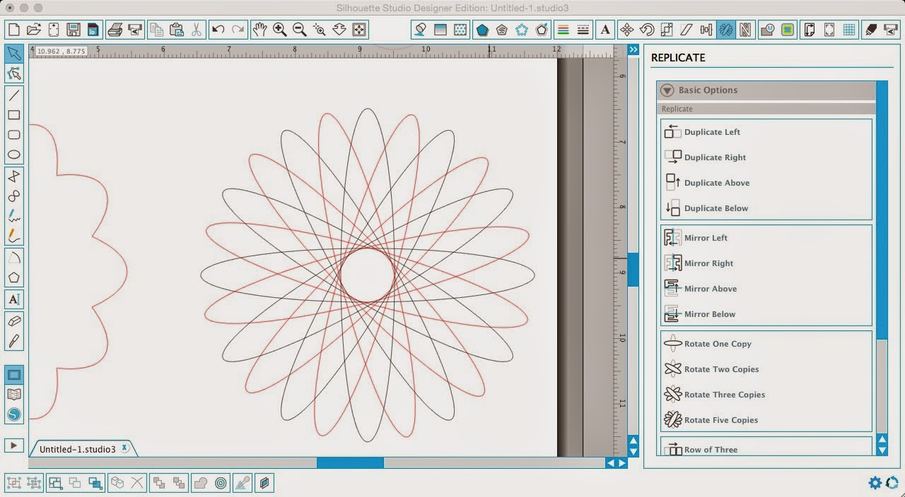 Silhouette Studio, Silhouette tutorial, designing, scalloped circle, flower, rotate five copies