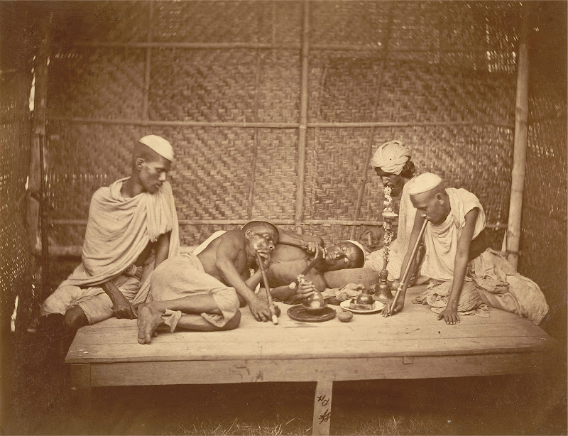 Five Opium Smokers in a Chauki (small bed like furniture) with Pipes and other Equipments - Eastern Bengal 1860's