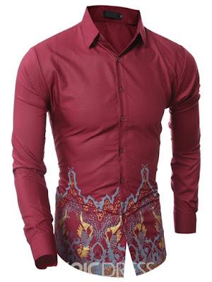 Vintage Print Long Sleeve Men's Shirt