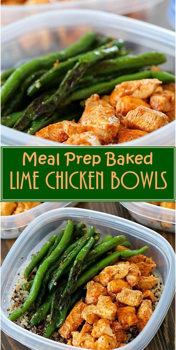 Meal Prep Baked Lime Chicken Bowls #Healthyrecipes