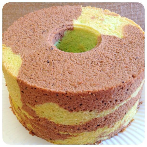 Kymn Kitchen Valrhona Chocolate Pandan Marble Chiffon Cake