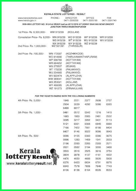 Kerala Lottery Result 02-12-2019 Win Win W-541 (keralalottery.net)-