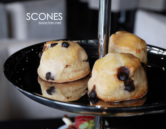 Scones with condiments, on the top layer of the 3 layered Hi-Tea Set