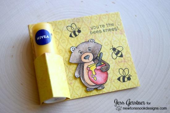 Bear and Honeybees Lip Balm card by Jess Gerstner| Winston's Honeybees stamp set by Newton's Nook Designs #newtonsnook #bee