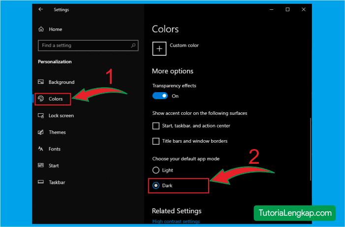 tutorialengkap merubah windows 10 menjadi gelap atau dark mode