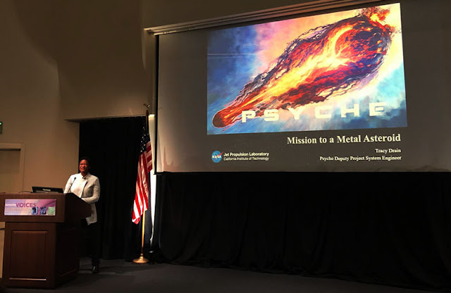 """Tracy Drain, JPL, at Distinctive Voices lecture on """"Psyche"""" (Source: Palmia Observatory)"""