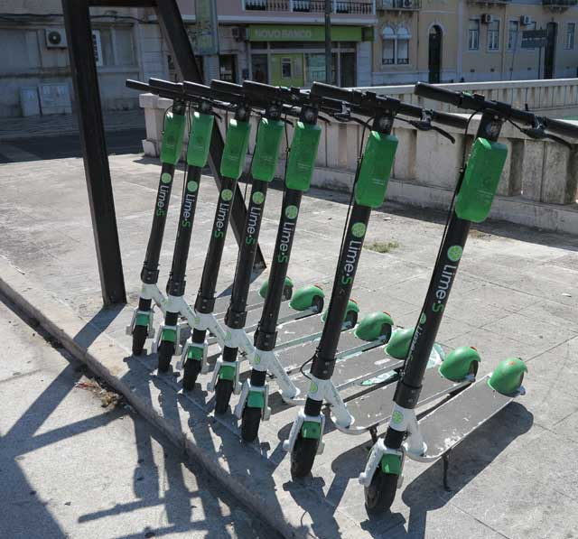 Lime-S scooters near Entrecampos Station, Lisbon