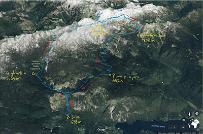 The actual route we took on our Triglav National Park hike. Route is from GPS tracks we captured.