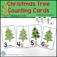 Christmas Tree Counting Cards, Number Recognition, Counting, One-to-One Correspondence, www.JustTeachy.com