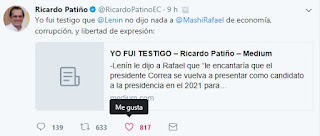 https://twitter.com/RicardoPatinoEC?ref_src=twsrc%5Etfw&ref_url=http%3A%2F%2Fwww.eluniverso.com%2Fnoticias%2F2017%2F09%2F29%2Fnota%2F6406405%2Fricardo-patino-lenin-moreno-le-dijo-rafael-correa-que-le-encantaria