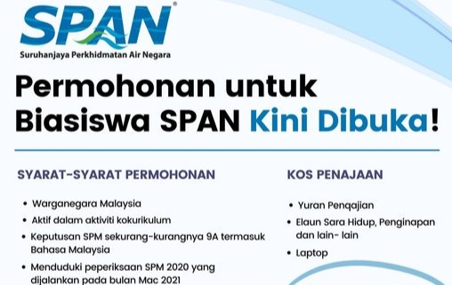 Permohonan Biasiswa SPAN 2021 Online (Suruhanjaya Perkhidmatan Air Negara)