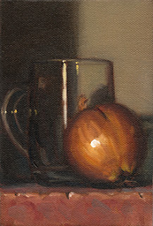 Still life oil painting of a brown onion beside a glass mug.