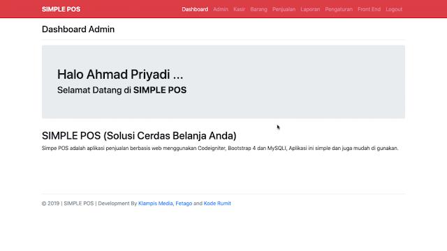 Halaman Dashboard Admin dan Halaman Dashboard Kasir Aplikasi Simple POS