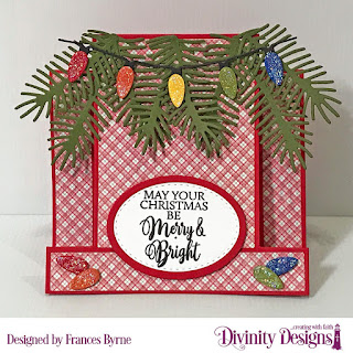 Stamp Set: True Light  Custom Dies: Center Step Card with Layers, Christmas Lights,  Pinecones & Pine Branches, Ovals, Double Stitched Ovals  Paper Collection: Holly Jolly