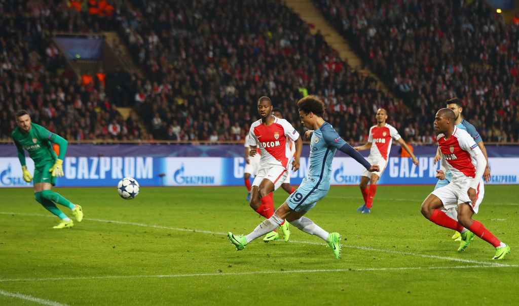 Leroy Sane of Manchester City (19) scores their first goal during the UEFA Champions League Round of 16 second leg match between AS Monaco and Manchester City FC at Stade Louis II on March 15, 2017 in Monaco, Monaco